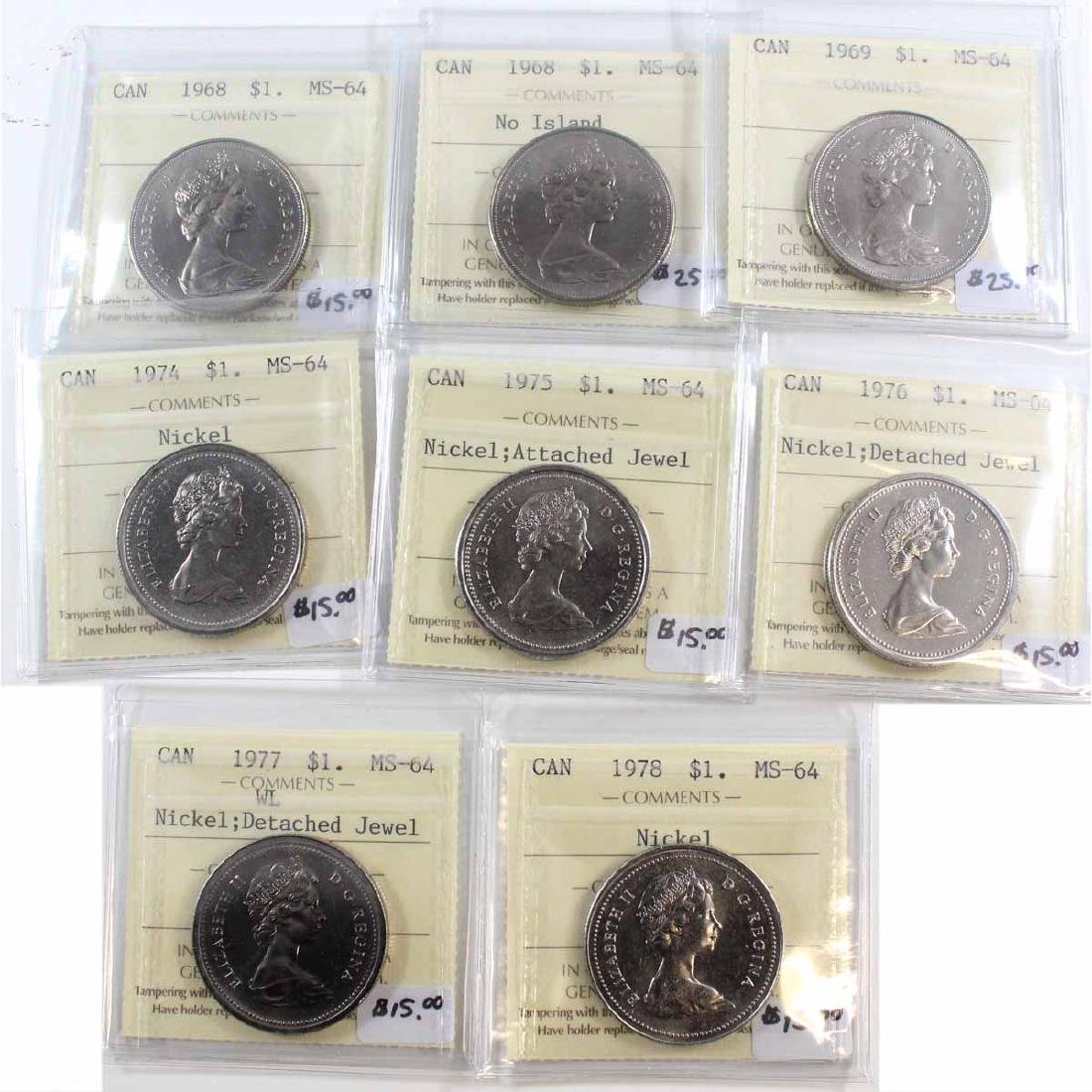 Lot of 8x Canada ICCS Certified MS-64 Nickel $1 Dated