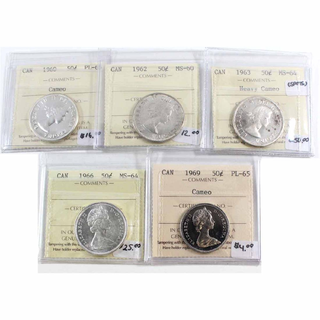 Lot of 5x Canada 50-cent ICCS Certified Coins. You will