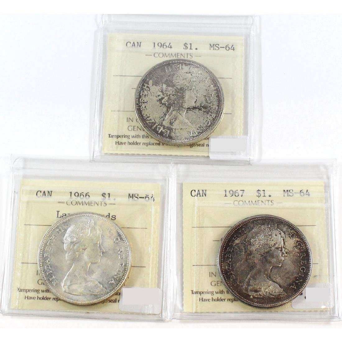 Lot of 3x Canada Silver $1 ICCS Certified MS-64 Dated