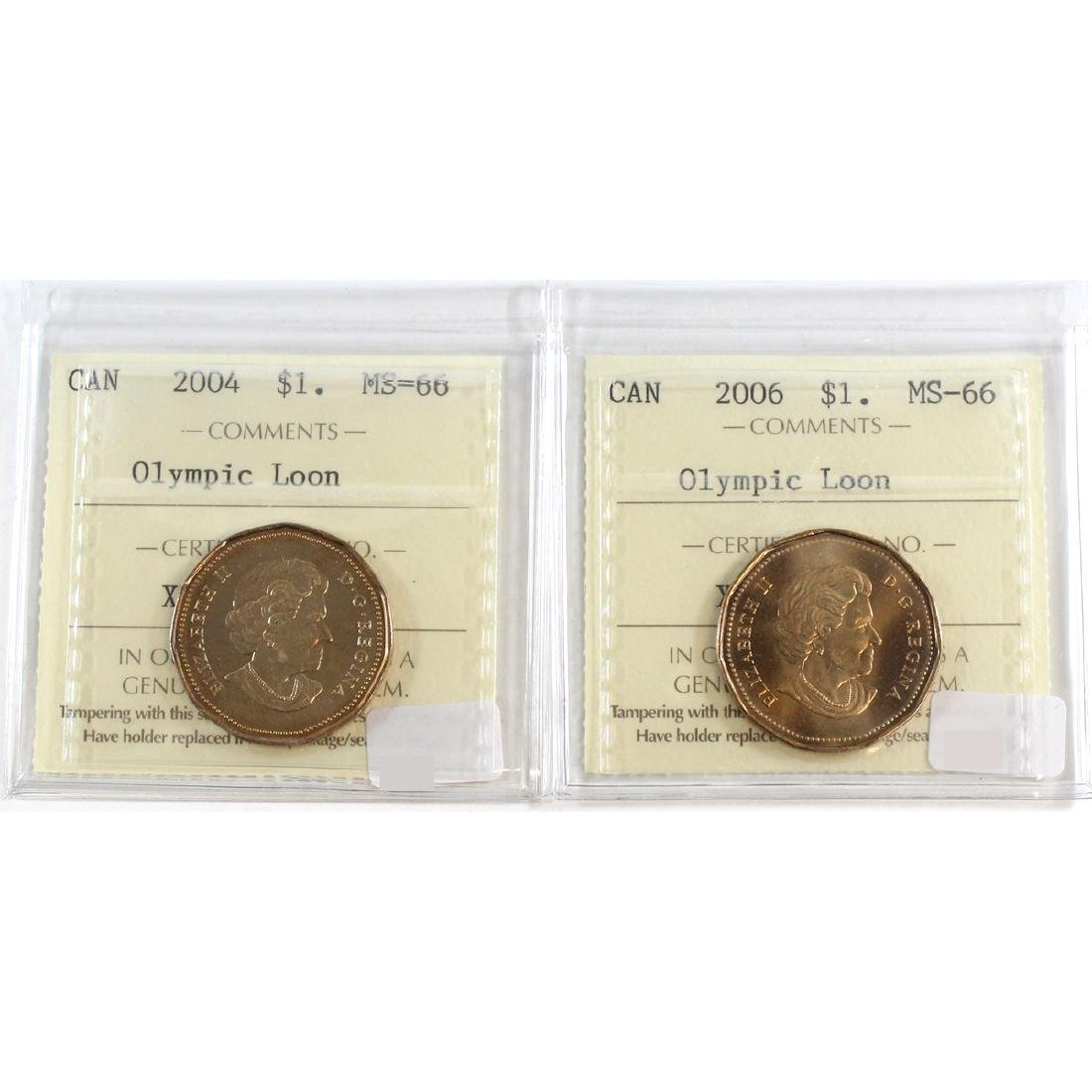 Lot of 2x Canada Loon $1 ICCS Certified MS-66 Dated