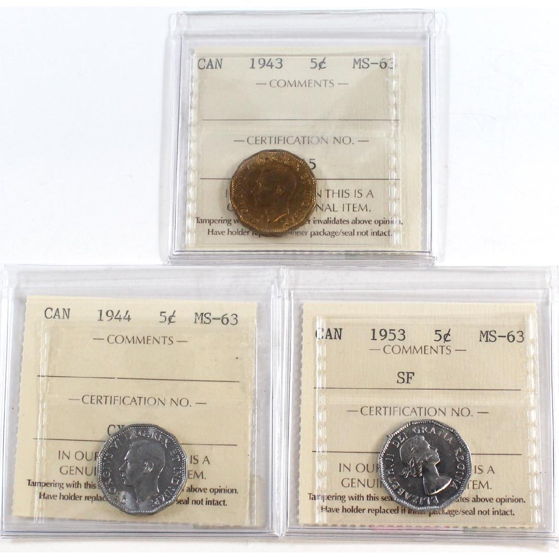 Lot of 3x Canada 5-cent ICCS Certified MS-63 Dated