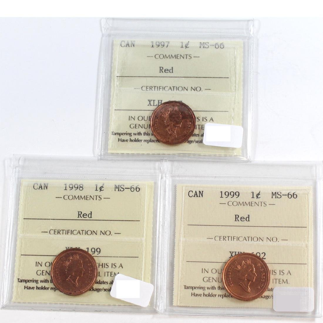 Lot of 3x Canada 1-cent ICCS Certified MS-66 Dated