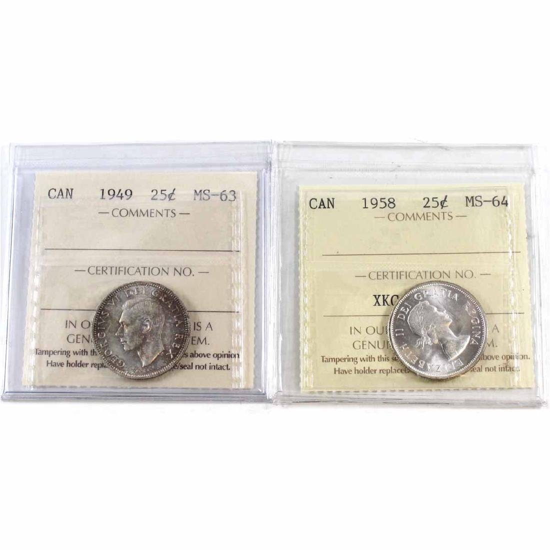 1949 Canada 25-cent ICCS Certified MS-63 & 1958 25-cent