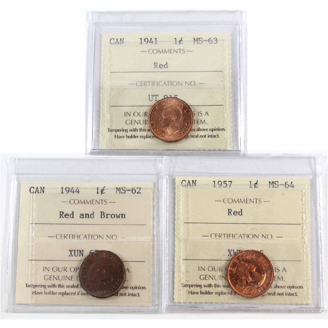 Lot of 3x Canada 1-cent ICCS Certified Dated 1941