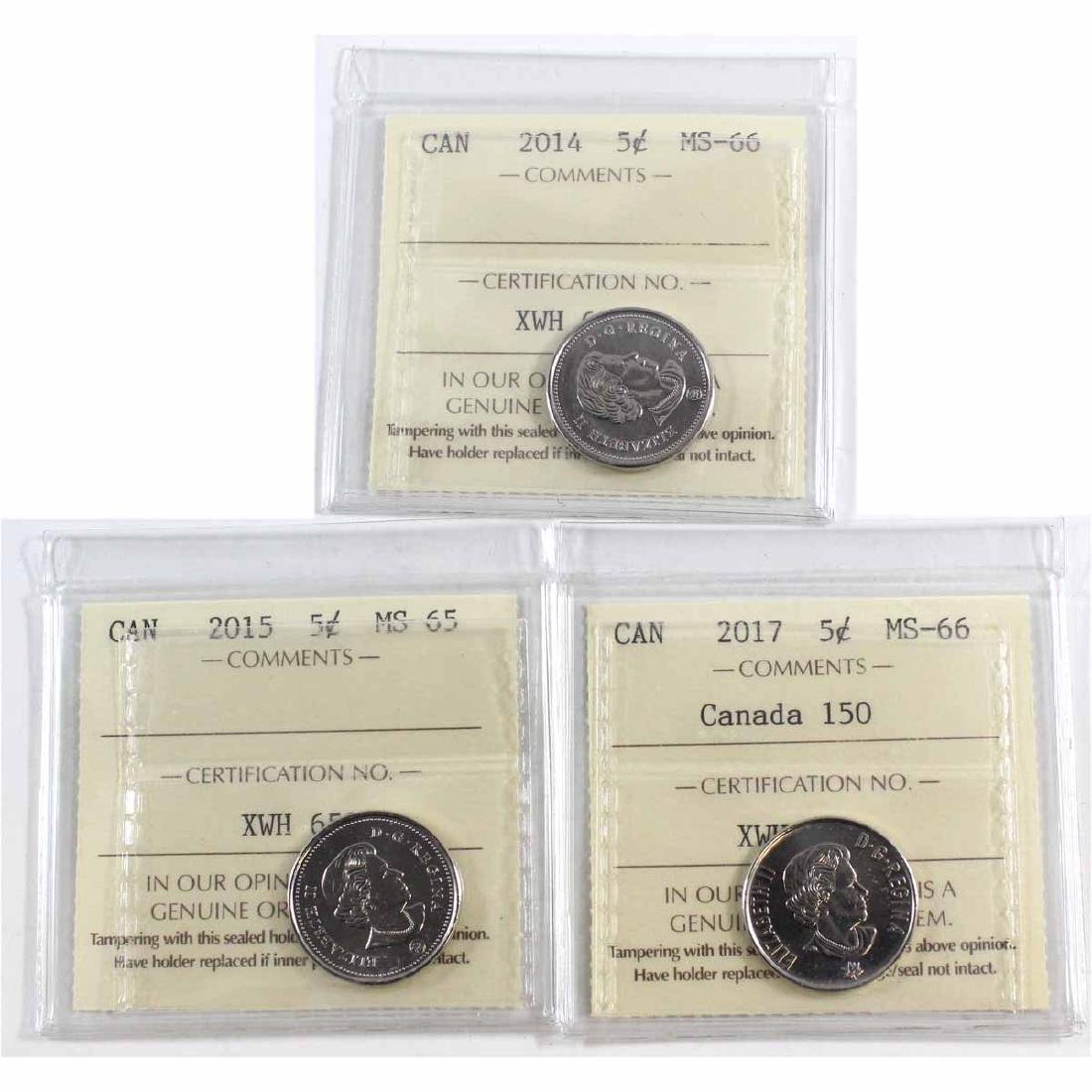 2014 Canada 5-cent ICCS Certified MS-66, 2015 5-cent