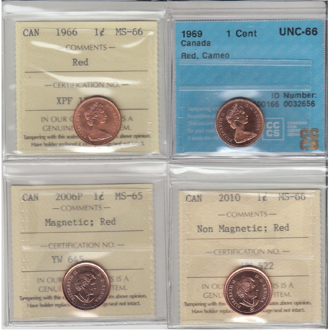 1966 Canada 1-cent ICCS Certified MS-66 Red, 1969 CCCS