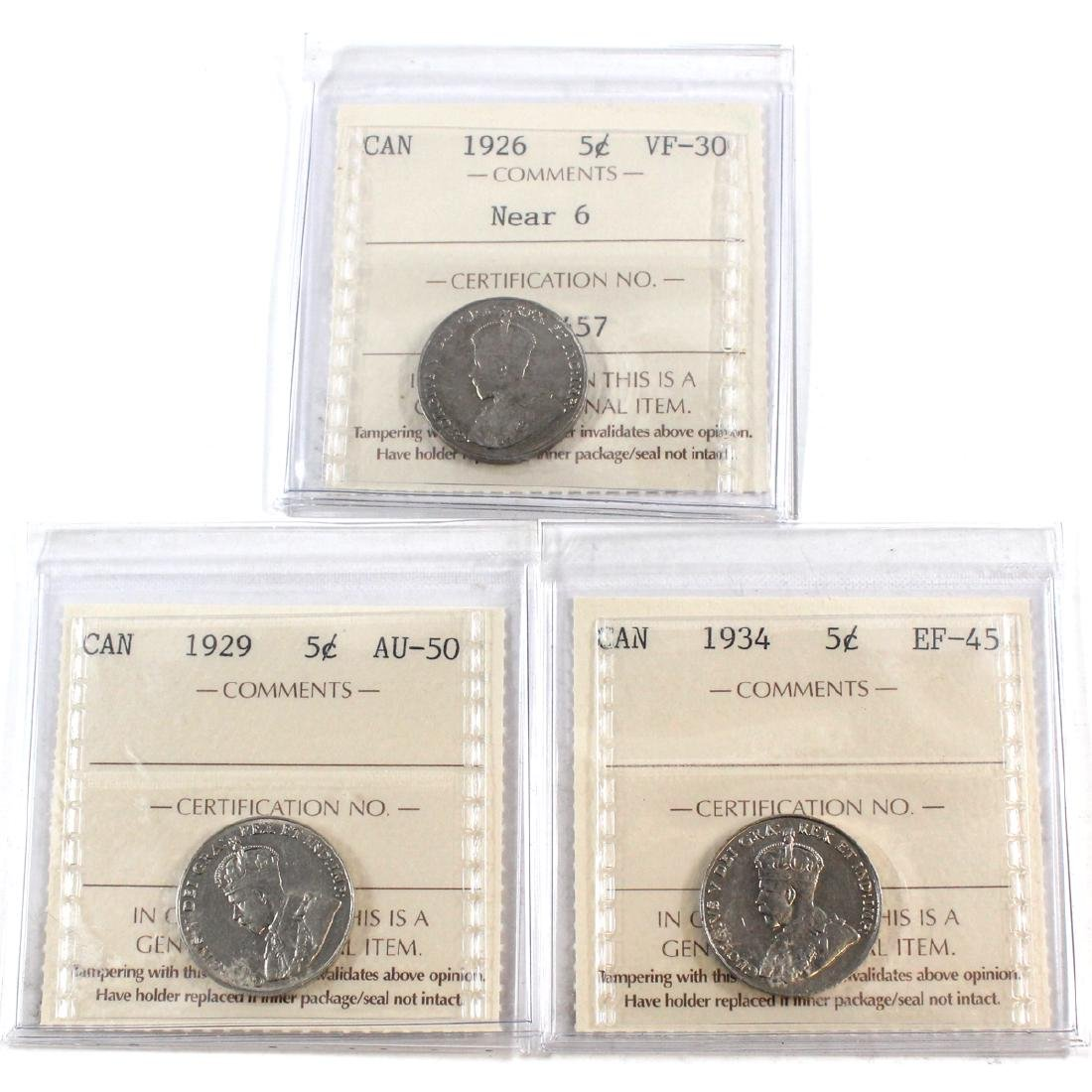 Lot of 3x Canada 5-cent ICCS Certified Dated 1926 Near