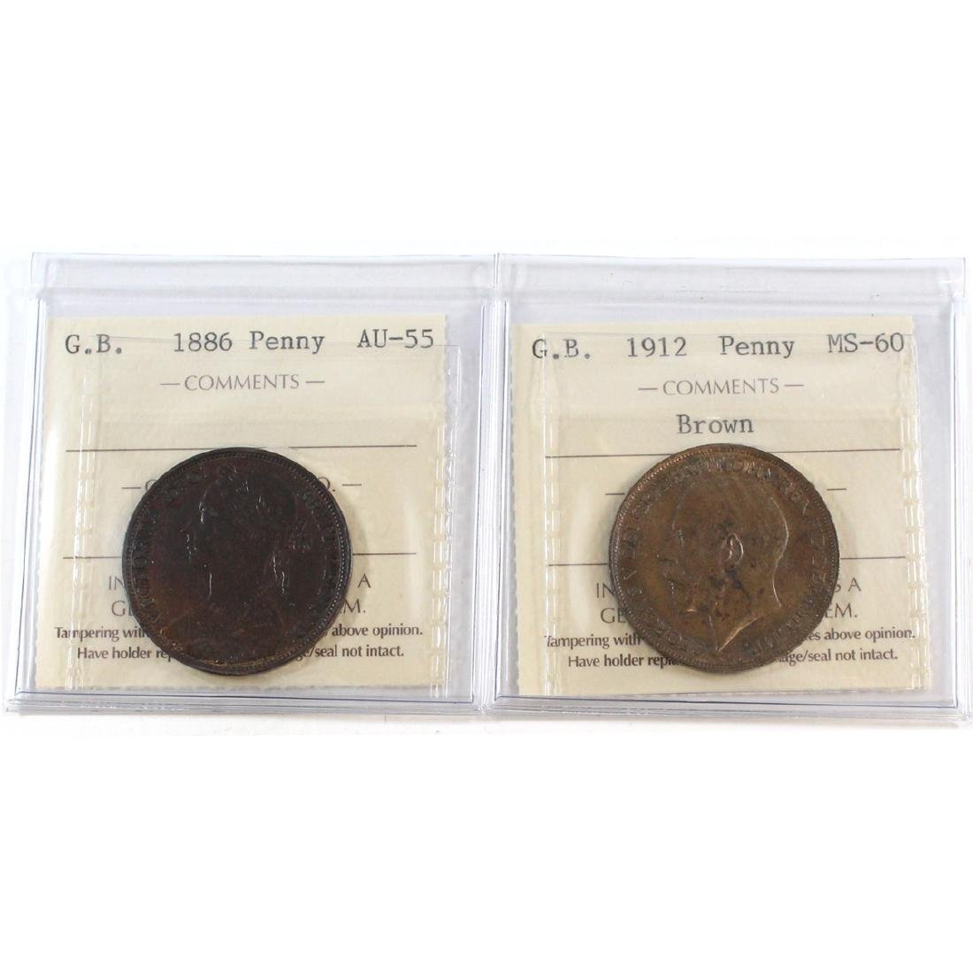 1886 Great Britain One Penny ICCS Certified AU-55 &