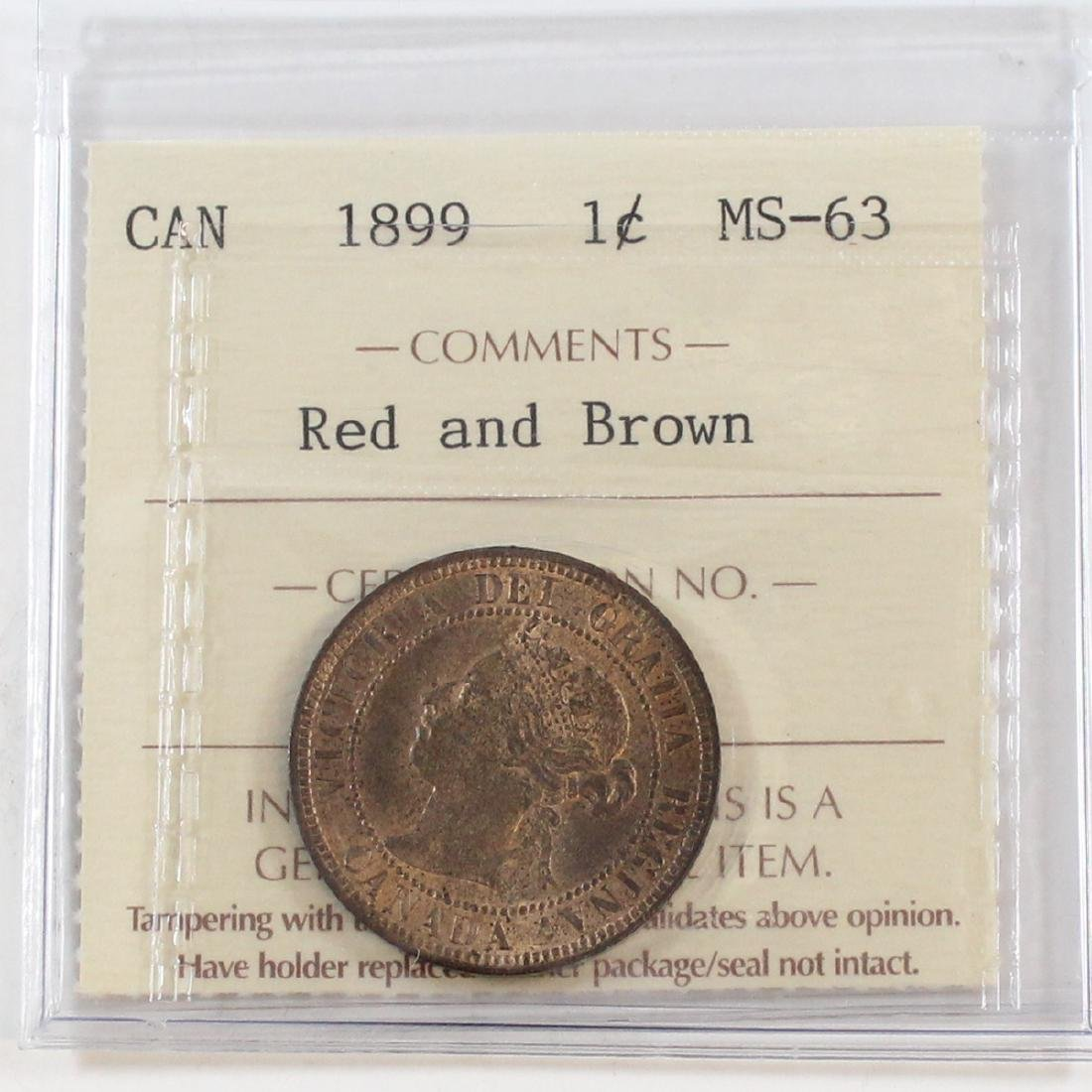 1899 Canada 1-cent ICCS Certified MS-63 Red and