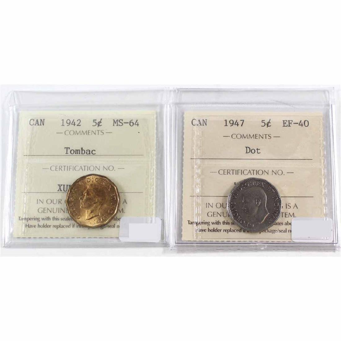 1942 Canada 5-cent Tombac ICCS Certified MS-64 & 1947