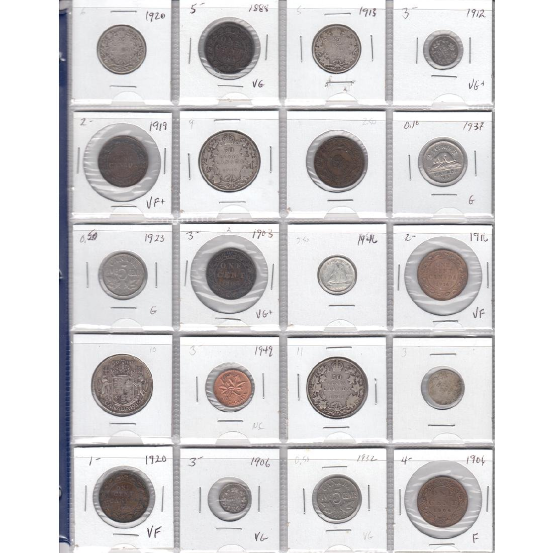Estate Lot of 20x Canada 1-cent, 5-cent, 10-cent,