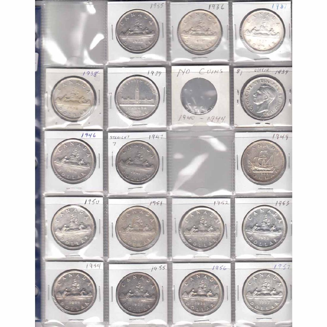 Estate Lot of 17x Canada Silver $1 Dated 1935-1938, 2x