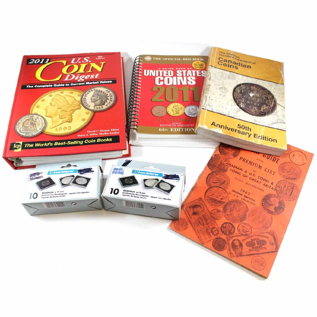 Collection of Assorted Coin Guides with 8x 15mm & 14mm