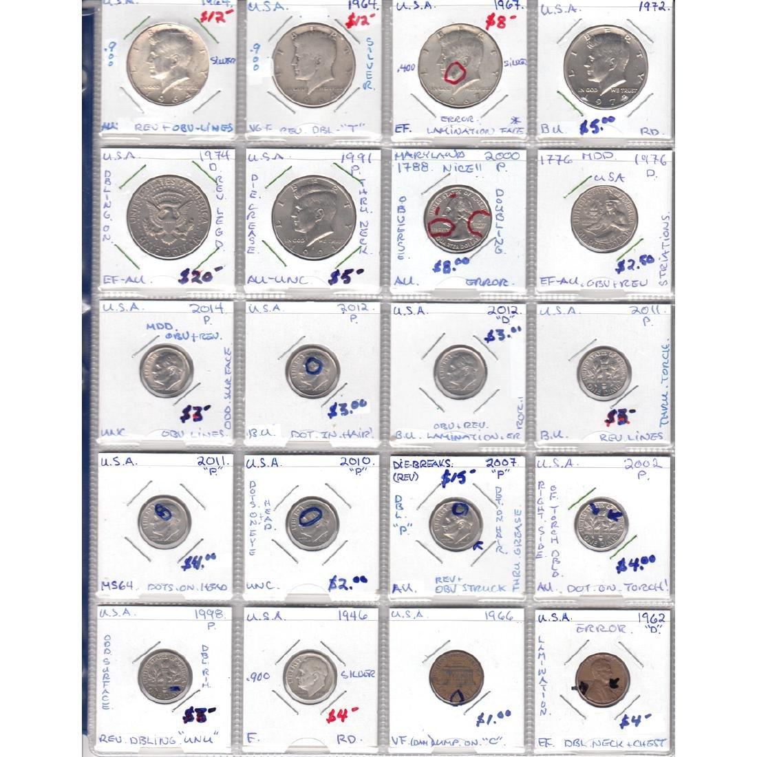 Error Estate lot of 20x United States Error Coins.