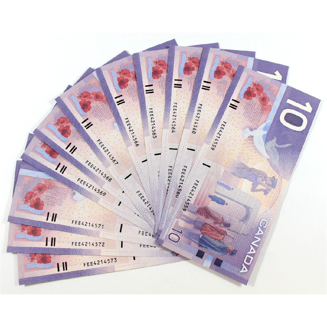 15 x 2001 changeover $10.00 notes with FEE prefix and