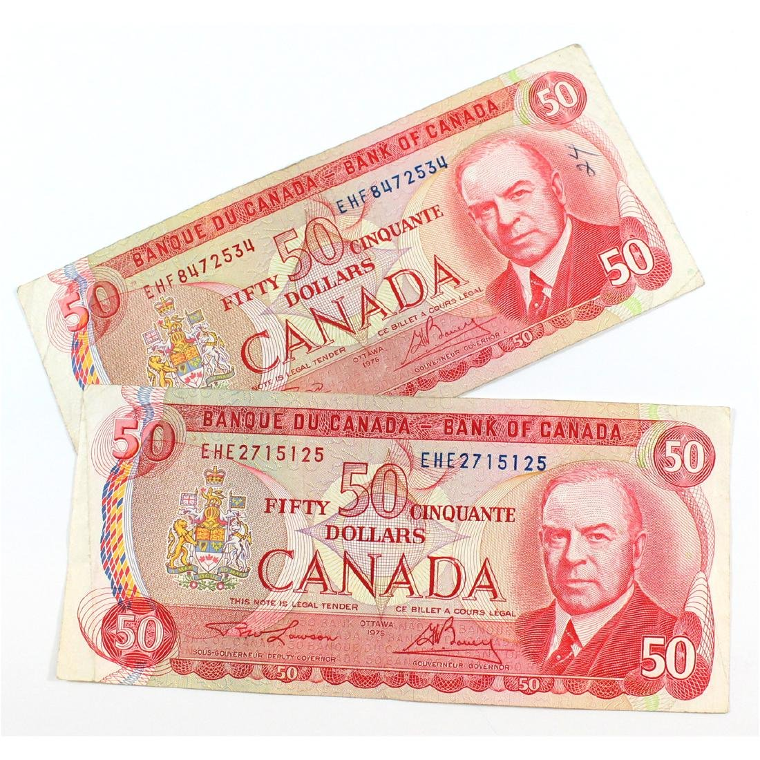 Complete signature type set of the 1975 $50.00 note