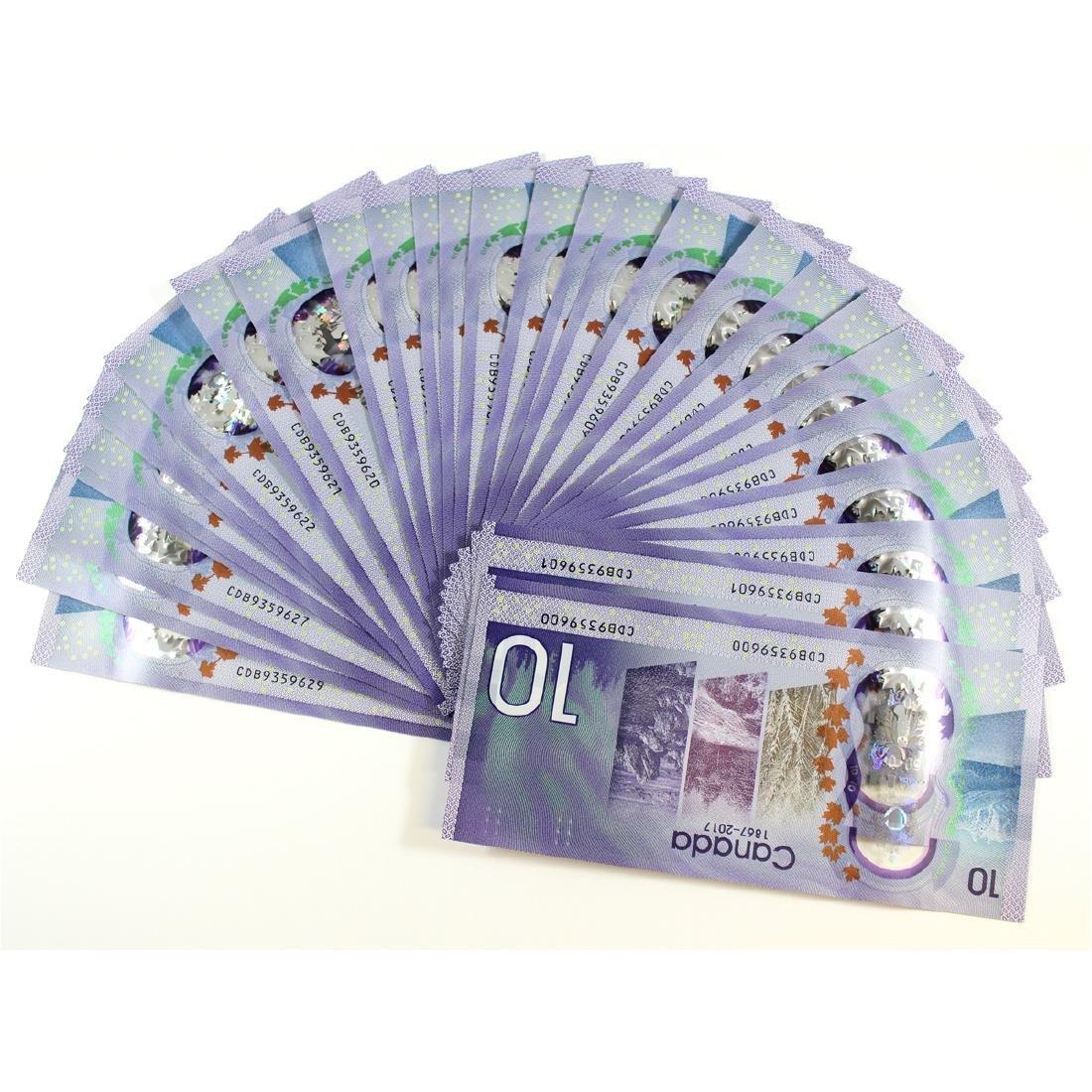 30 x 2017 commemorative $10.00 notes with CDB prefix