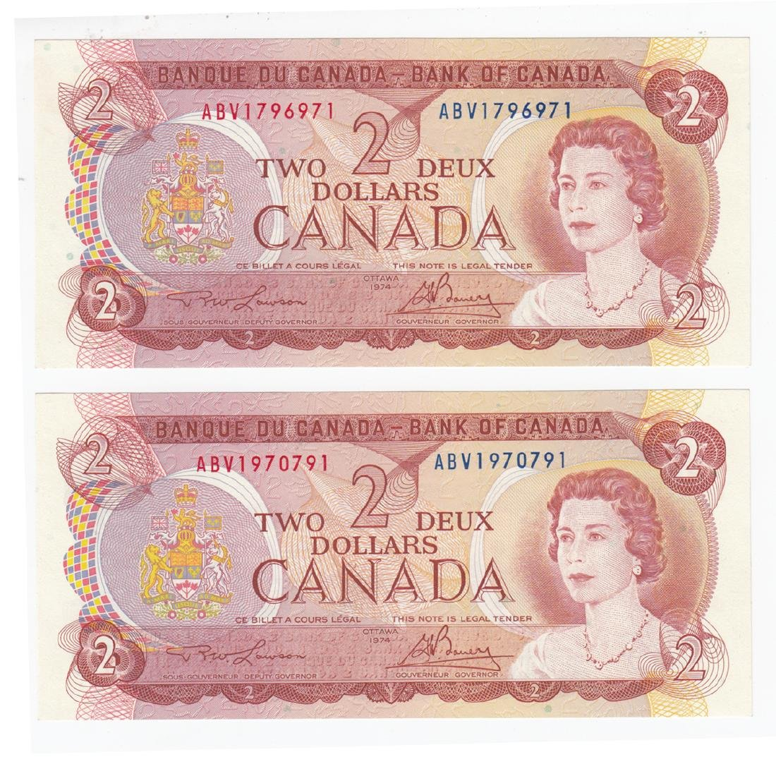 Pair of 1974 RADAR $2.00 notes in CUNC Condition.  2