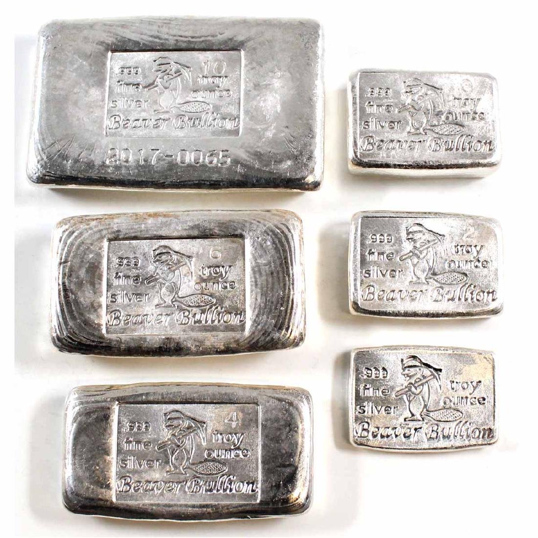 Lot of 6 Different Beaver Bullion Fine Silver Bars (TAX