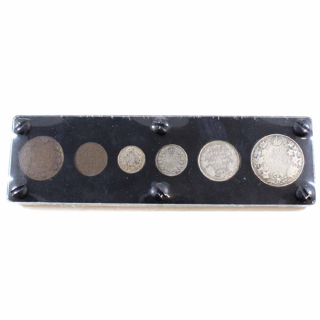 1920 Canada 6-Coin Set in hard plastic holder. Includes
