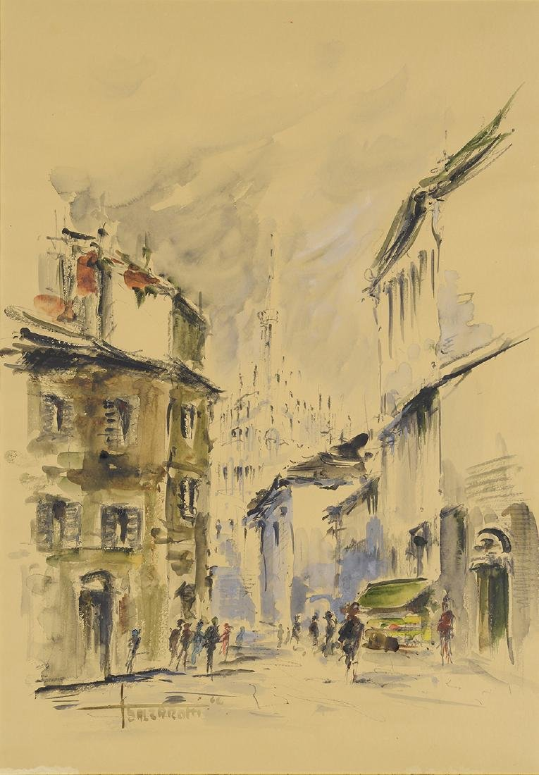 Balzarotti, 1966, Watercolor Street Scene Arches