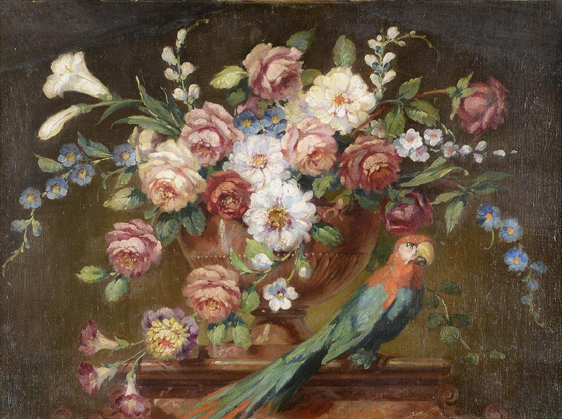 20th Century, Unknown Artist, Floral with Parrot