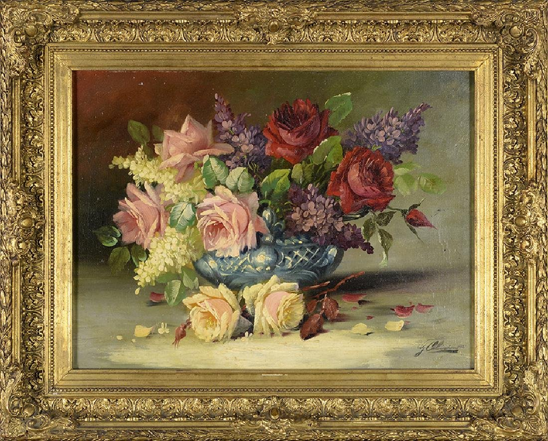 J. Oliver, Antique Painting, Still Life with Roses