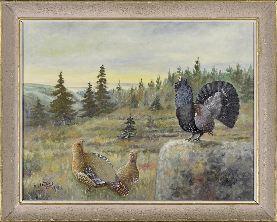 E. Sjoborg, 1947 Antique Painting, Birds