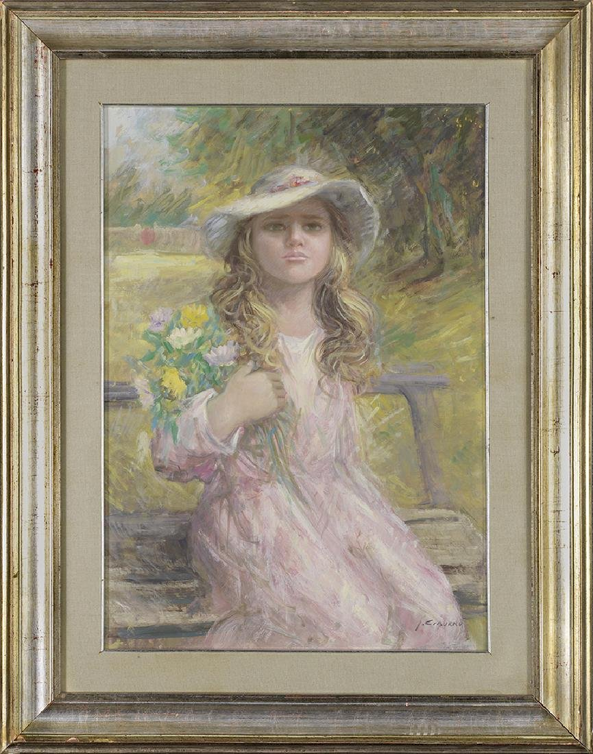 J. Ciaurro,  Pastel of Young Girl