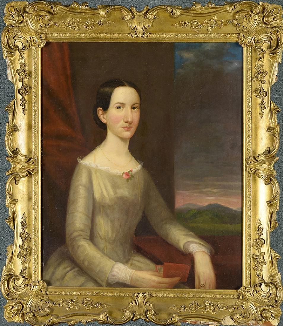 19th Century American School, Portrait of Lady in Green