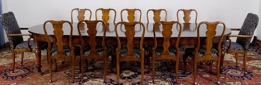 Oval Dining Room Table with 14 Queen Ann Chairs,