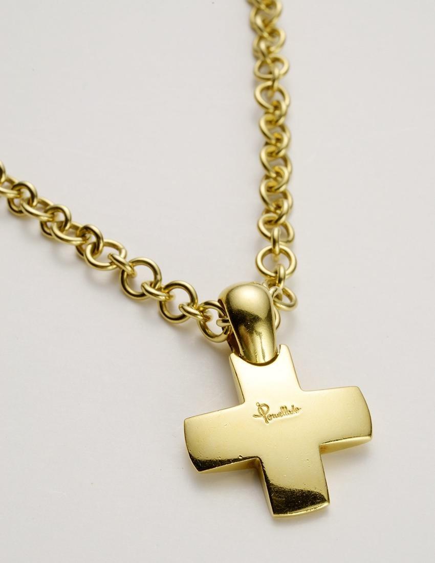 Pomellato Brand Gold Cross on Gold Chain