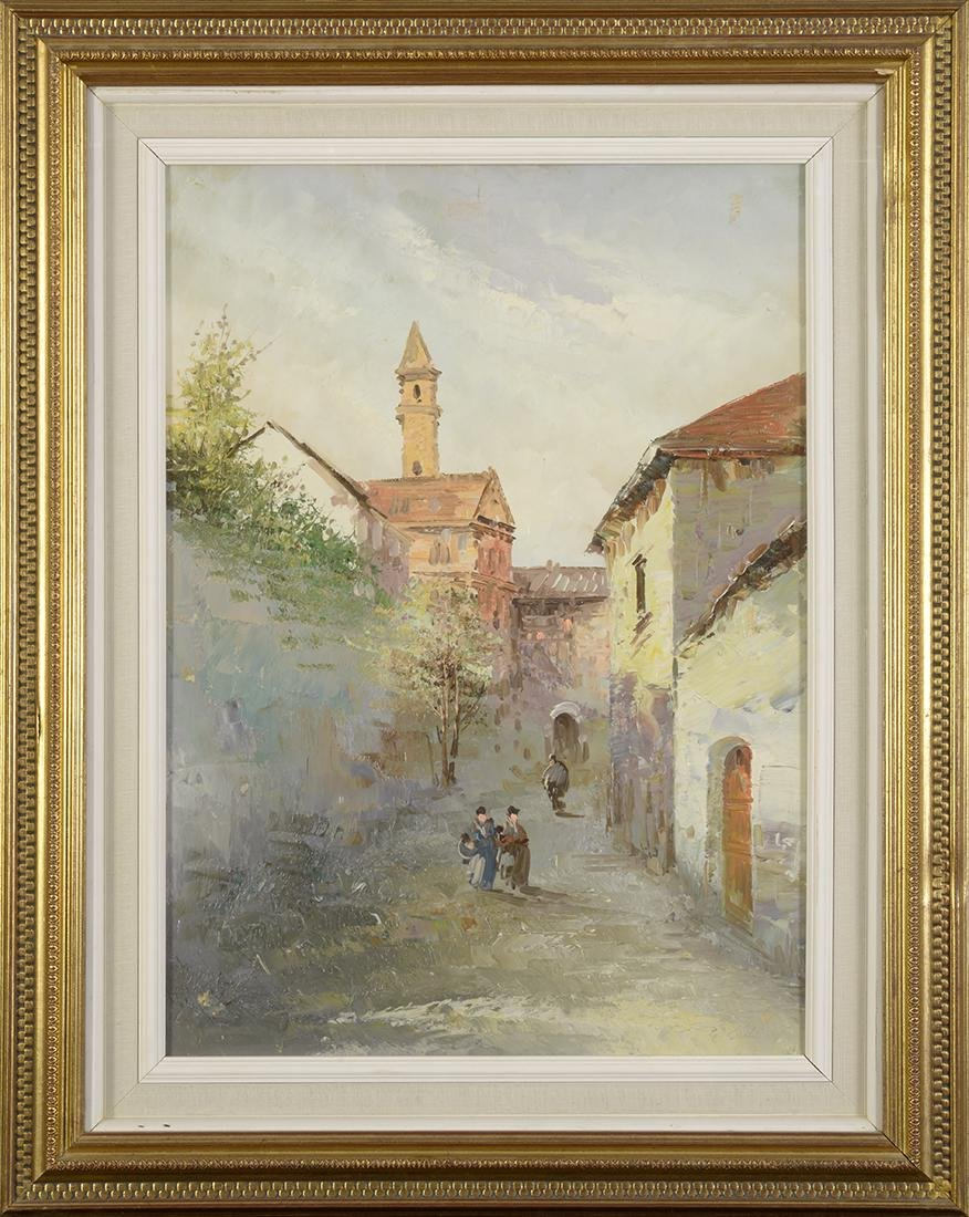 20th Century, Oil on Canvas, European Village