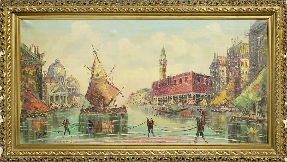 Textured Acrylic Painting on Canvas, Venice