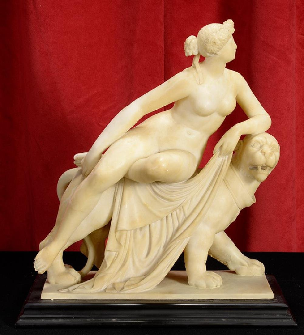 German Alabaster Sculpture of Ariadne & the Panther