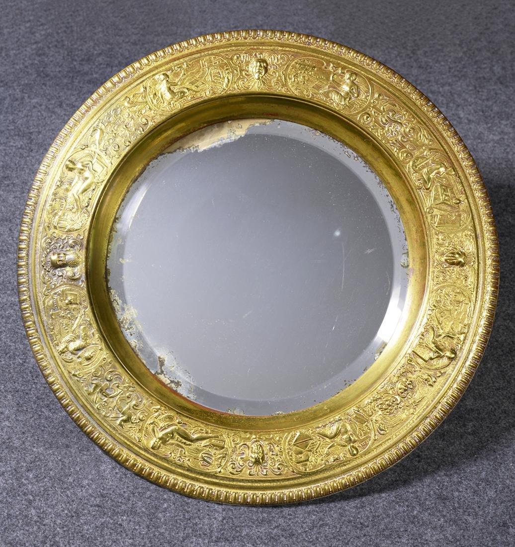 A Pair of Tiffany Studio Bronze Mirrors