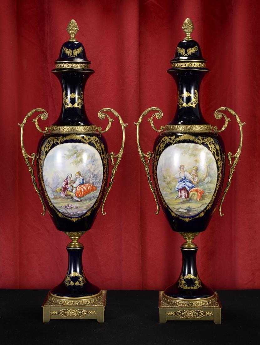 Pair of Antique French Porcelain Cassolettes