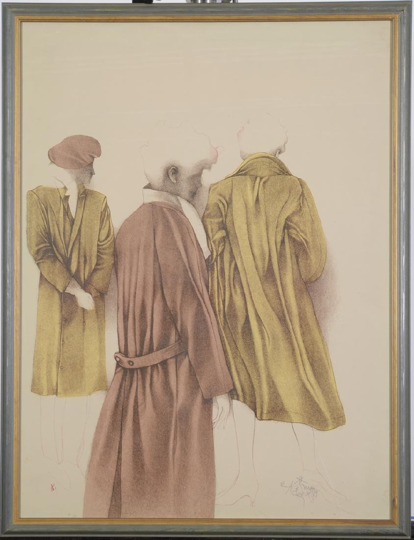 Bruno Bruni, Lithograph in Colors, Three Figures