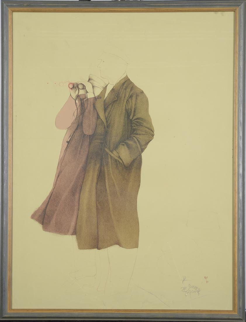 Bruno Bruni, Lithograph in Colors, Two Figures