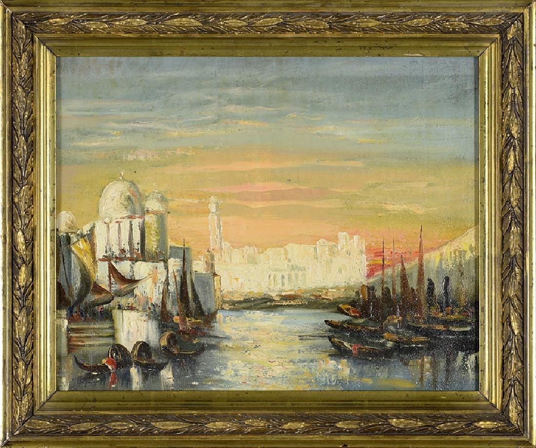 """19th Century, Unknown Artist, """"Grande Canal Venice"""" Oil"""
