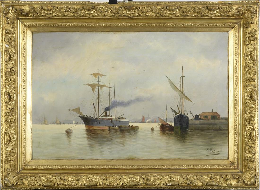 J. Roberti, Oil on Canvas, Marina