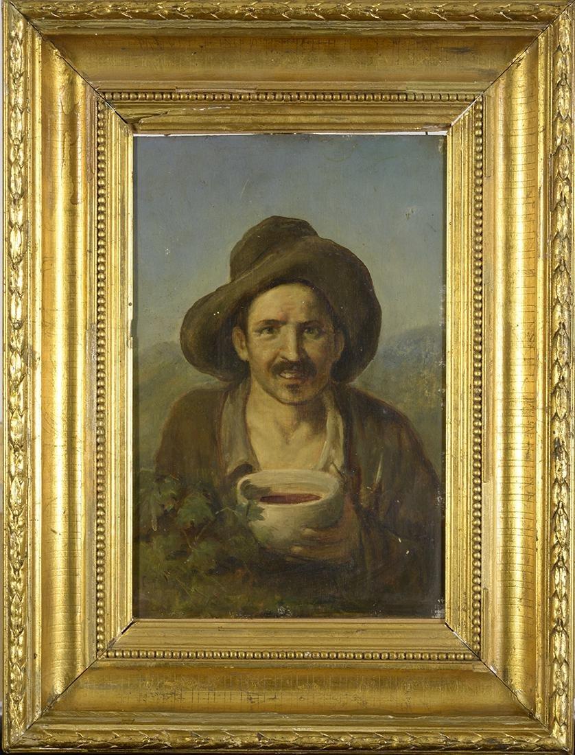 "18th Century Oil on Board, Unknown Artist, ""Begger"""