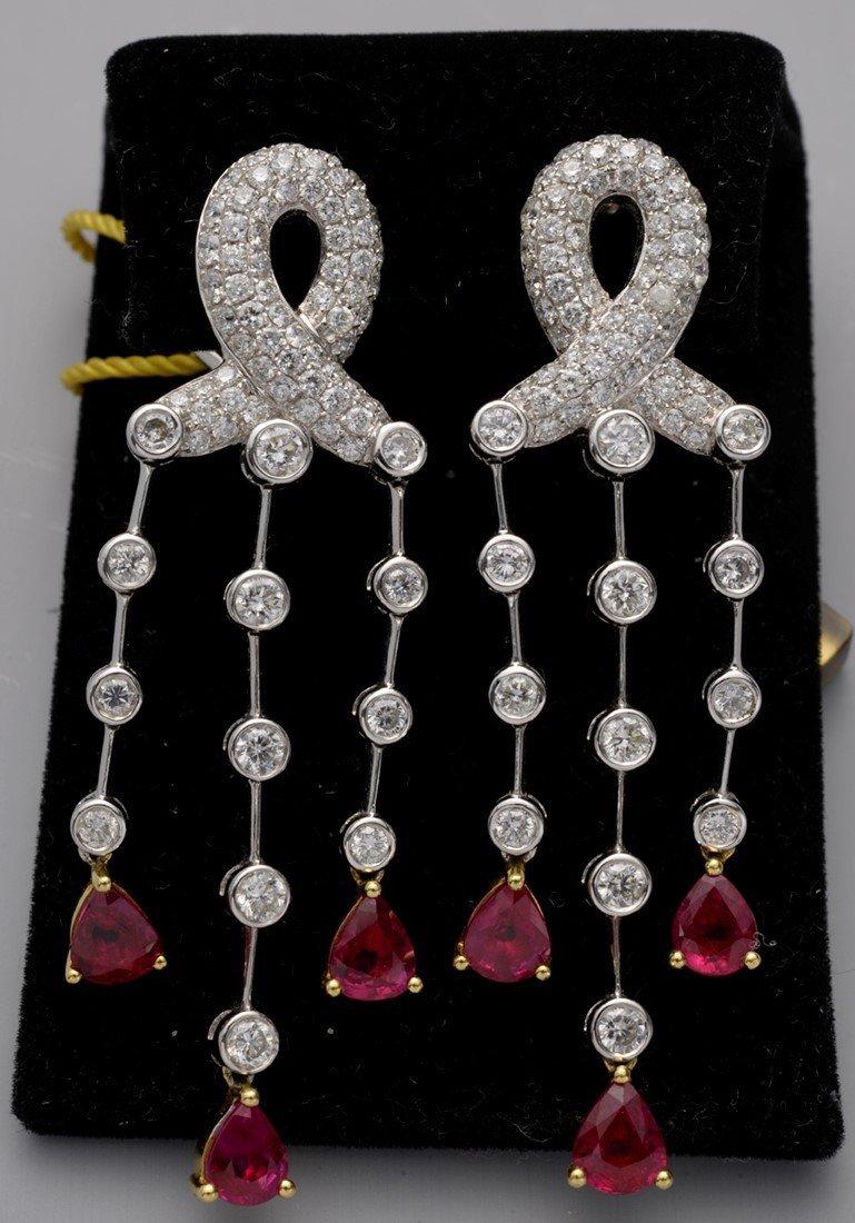 Pair of Chandelier Earrings, Gold, Diamonds, Rubies