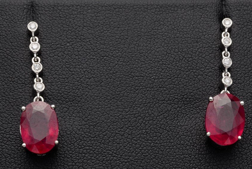 A Stunning Pair of Drop Earrings with Rubies and