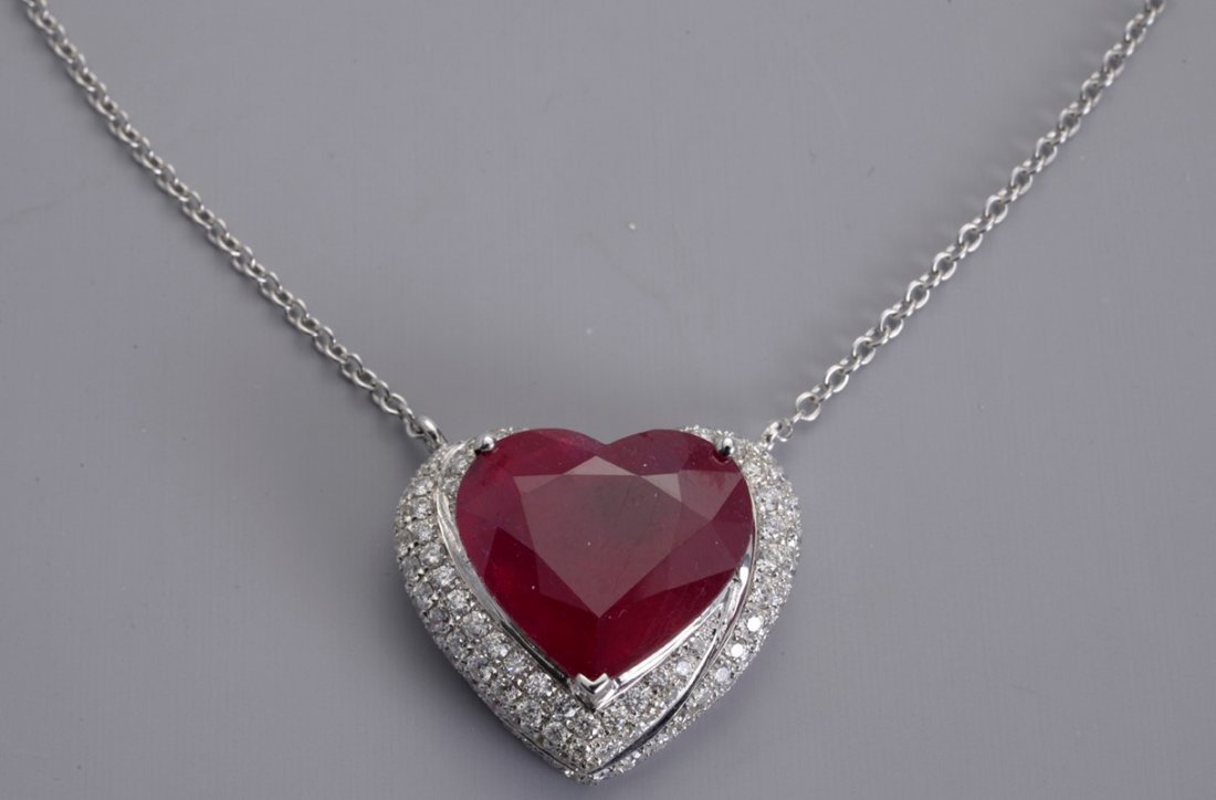 White Gold Pendant with African Ruby and 129 Diamonds