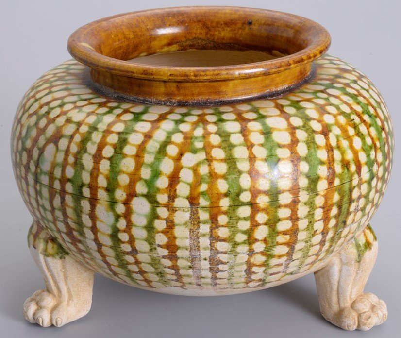 Delicate Antique Chinese Clay Bowl Sitting on Three