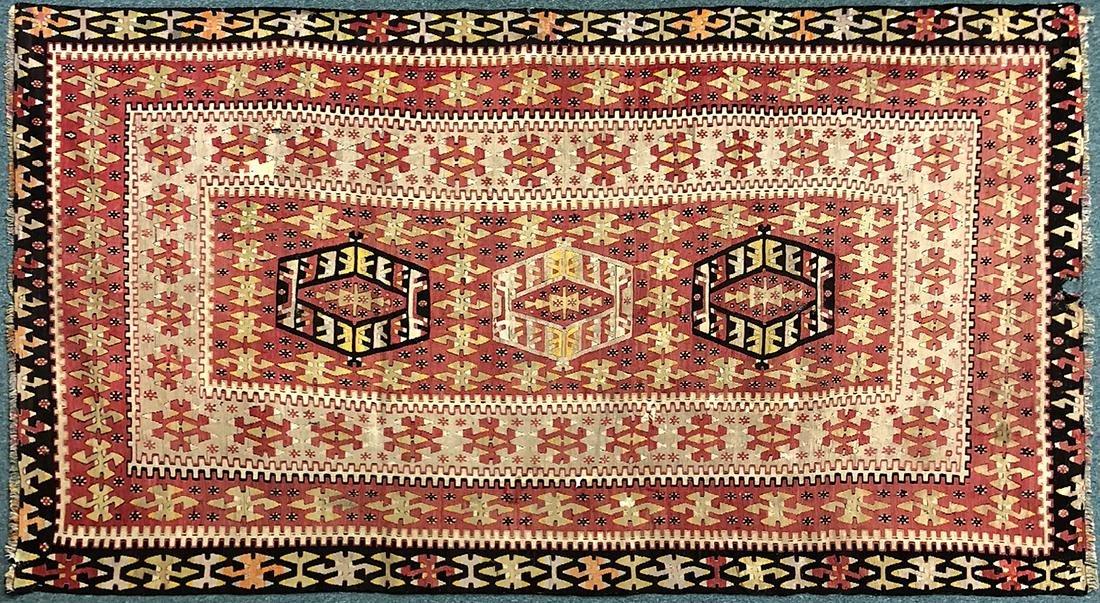 """Antique Turkish Kilim Carpet, 69.5"""" x 126"""""""