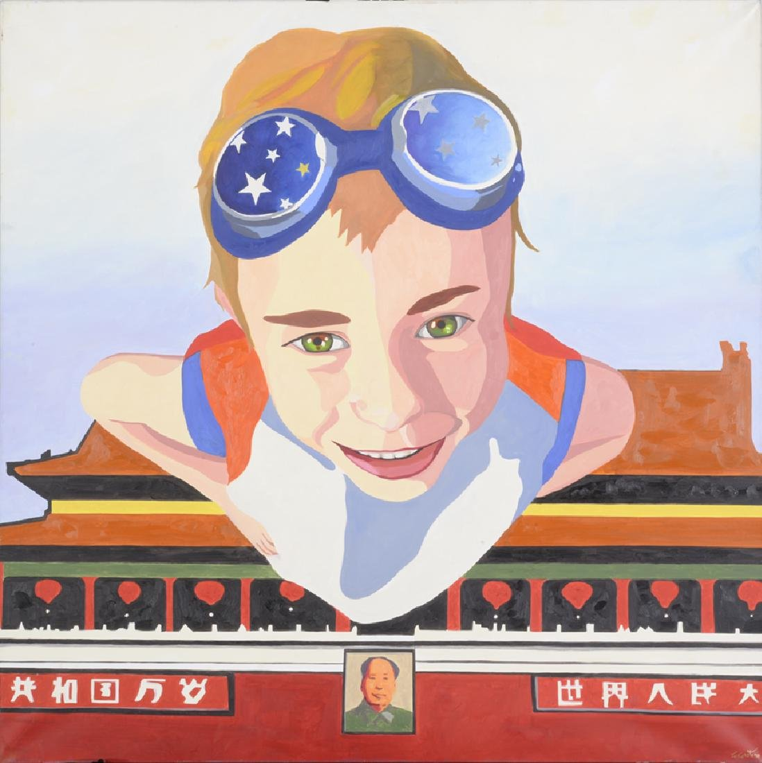 Akira Zakamoto, The Child is Flying, Acrylic on Canvas