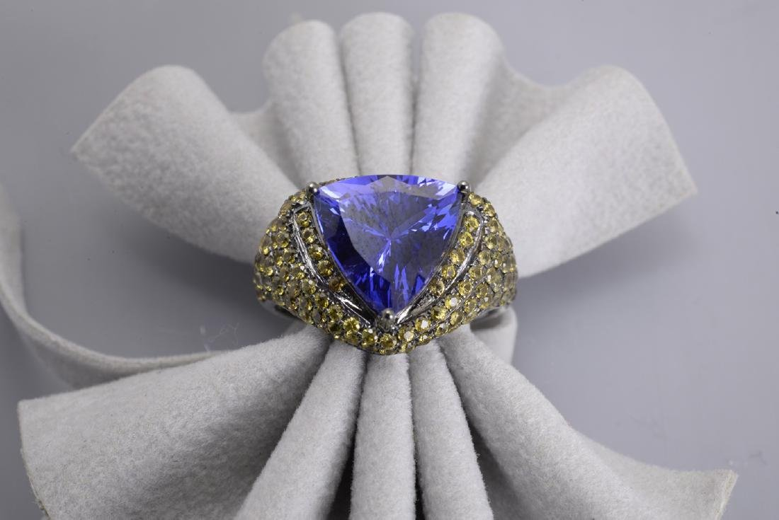 Tanzanite Trillion Cut Cocktail Ring with Champagne