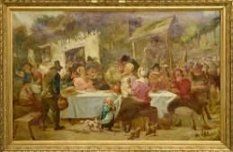 Vincent De Vos (1829-1875) Oil on Canvas Outdoor Party